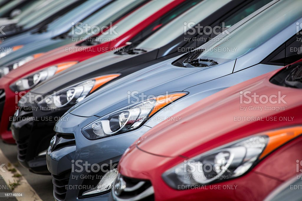 New Hyundai Vehicles in a Row royalty-free stock photo