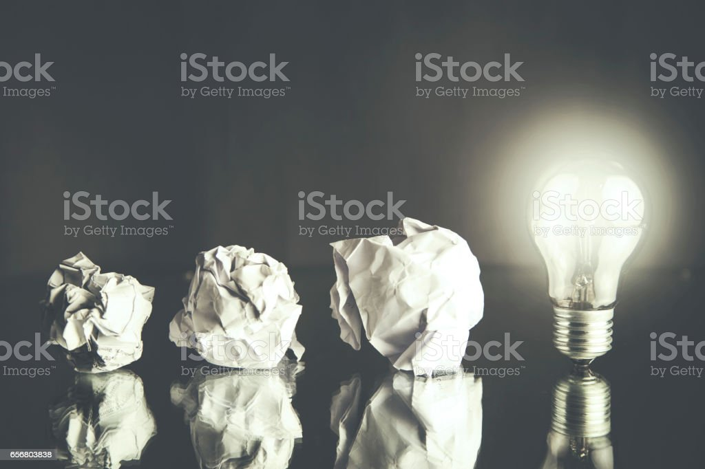 new idea concept with crumpled office paper stock photo