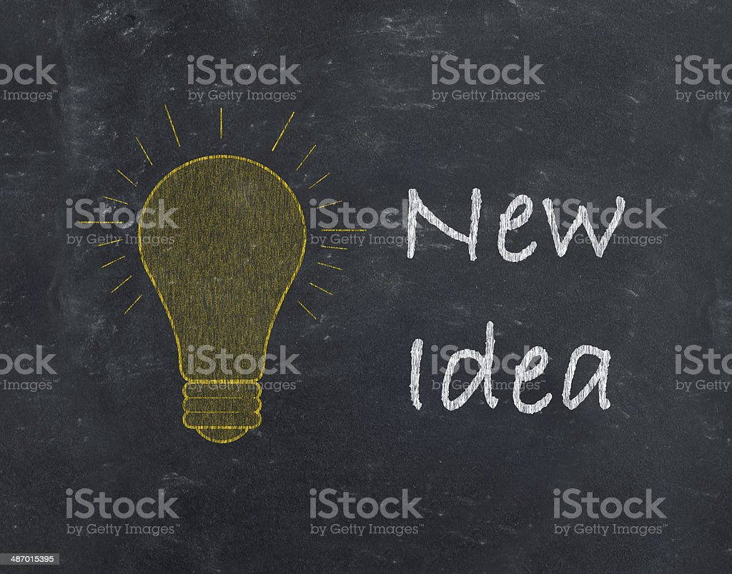 New Idea with light bulb drawn on blackboard royalty-free stock photo