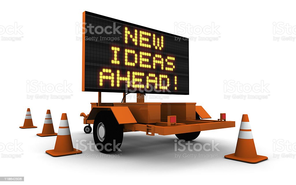 New Ideas Ahead - Road Construction Sign stock photo