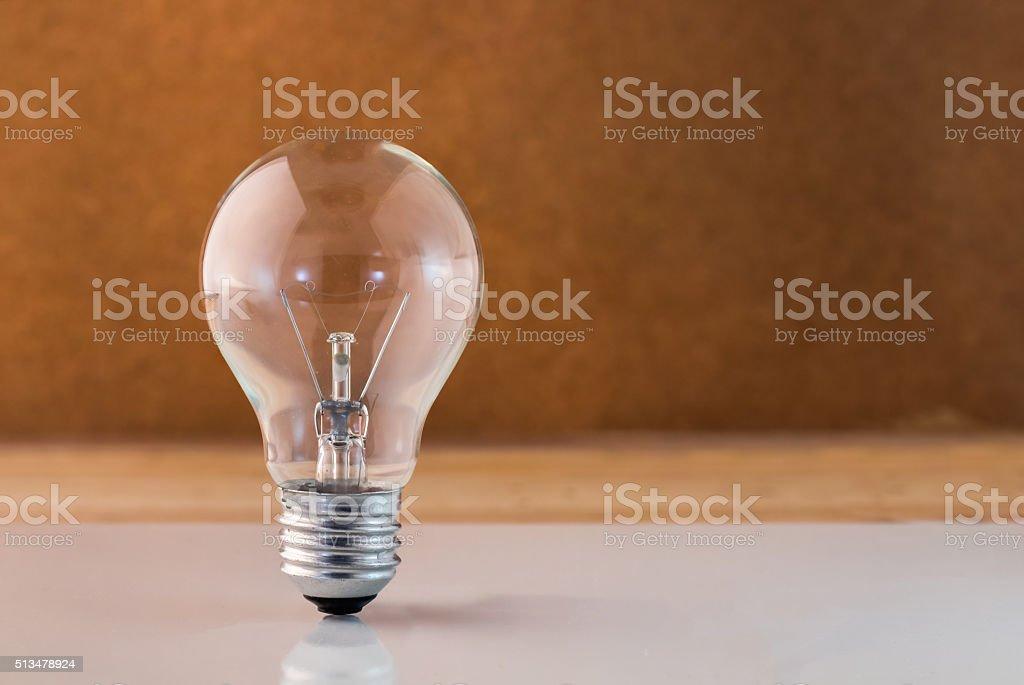 new ideas concept light bilb with white floor.jpg stock photo