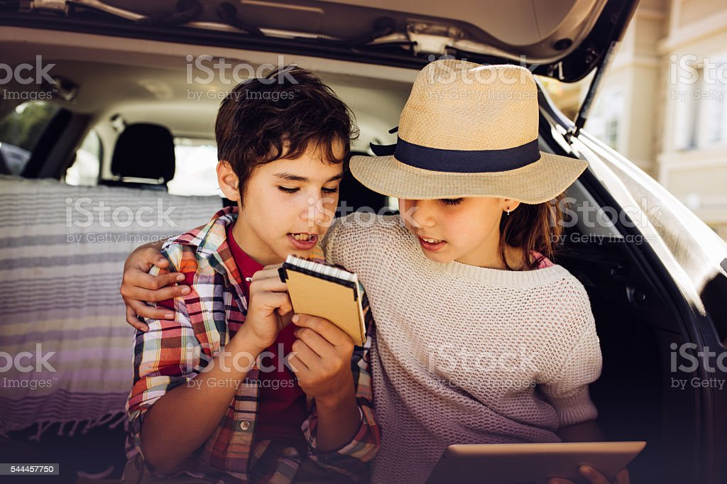 New ideas for road trip with family stock photo