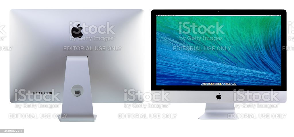 New iMac 27 With OS X Mavericks. stock photo