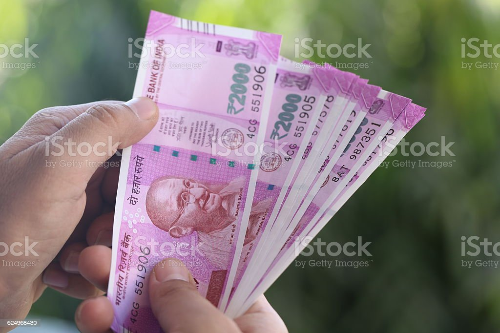 New indian 2000 Rs Currency Note stock photo