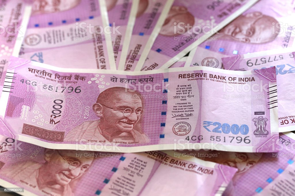 New Indian currency rupees stock photo