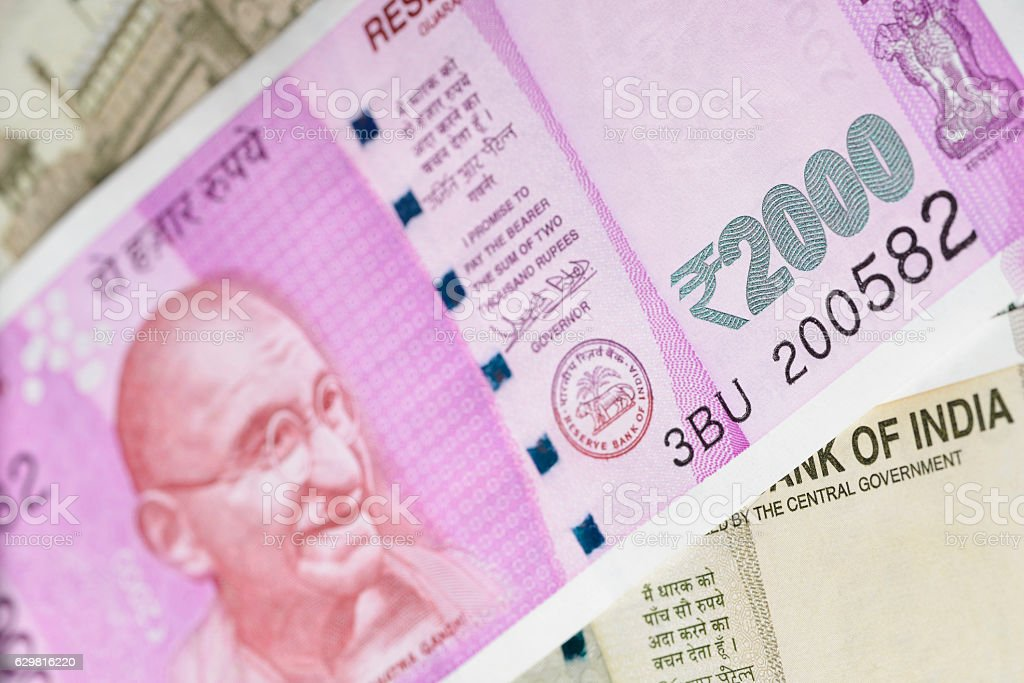 New Indian Two Thousand Rupee Note with Mahatma Gandhi Portrait stock photo