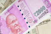 New Indian Two Thousand Rupee Note with Mahatma Gandhi Portrait