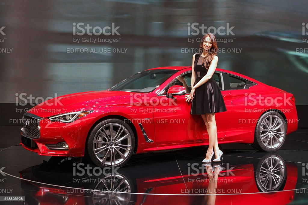 New Infiniti Q60 coupe shown stock photo