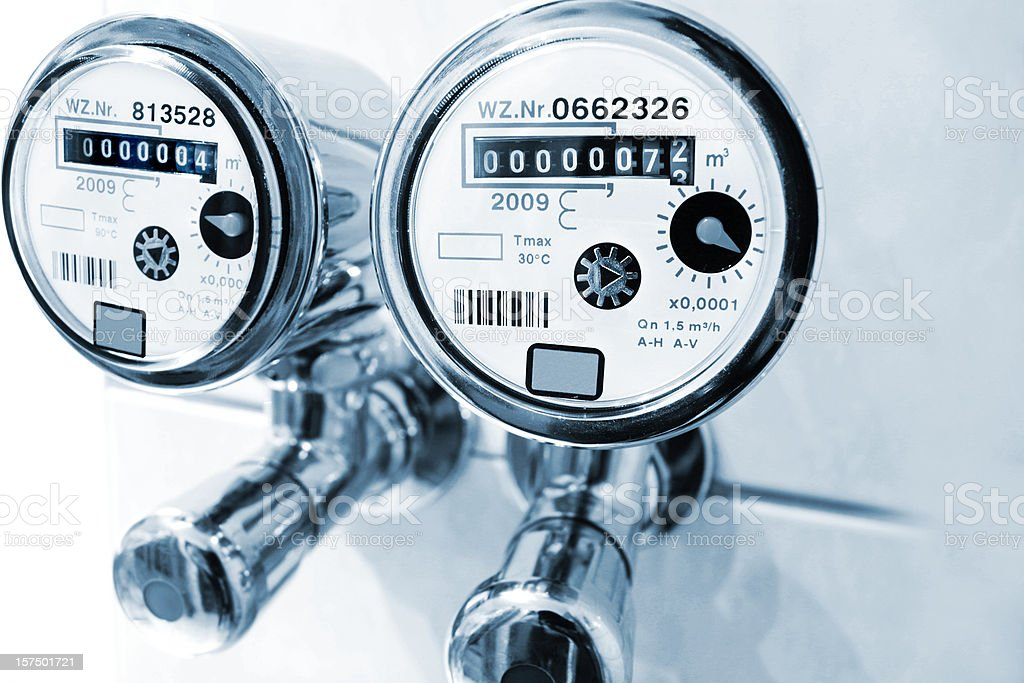 New installed water meter in bathroom stock photo