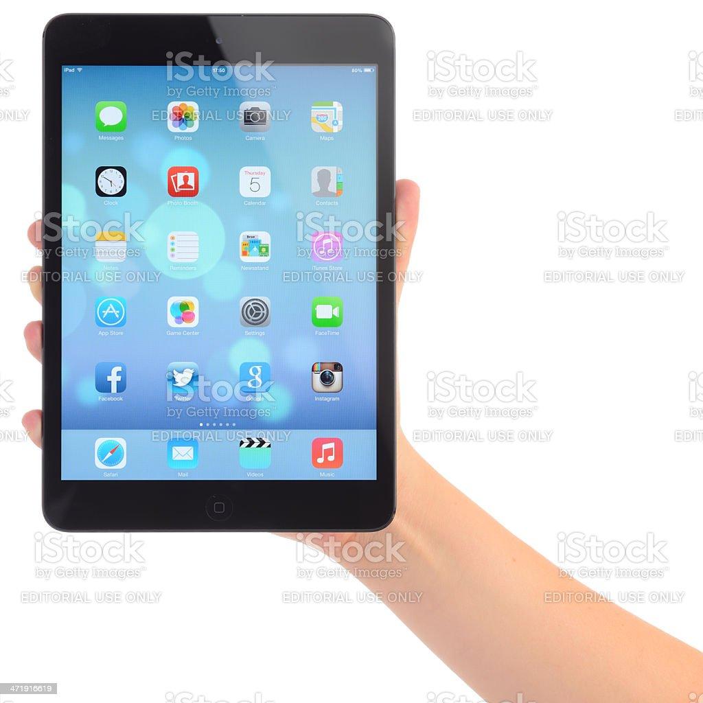 New iOS 7 on Apple iPad Mini royalty-free stock photo