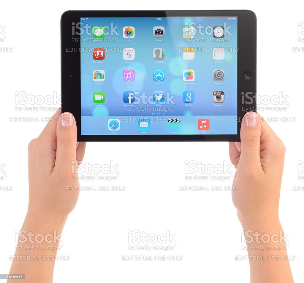 New iOS 7 operating system on Apple iPad Mini stock photo