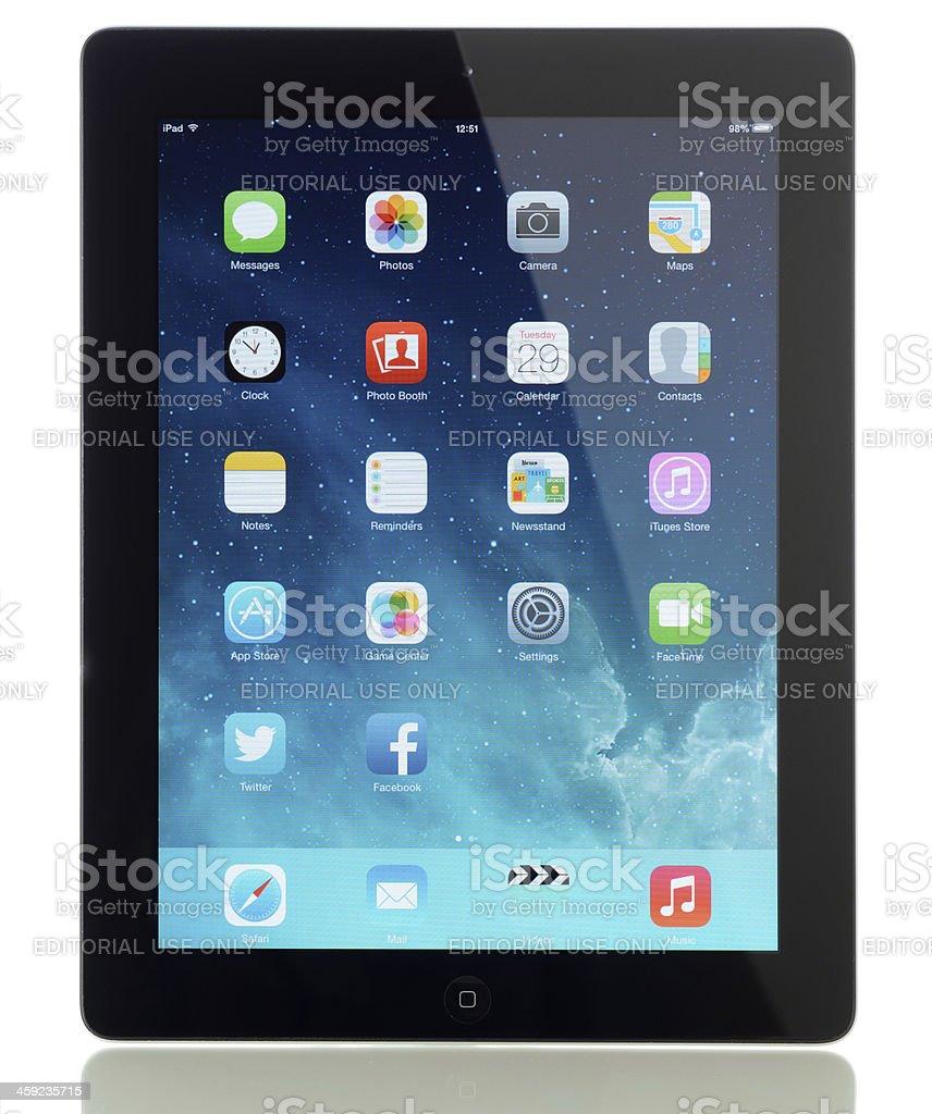 New iOS 7 screen on iPad stock photo