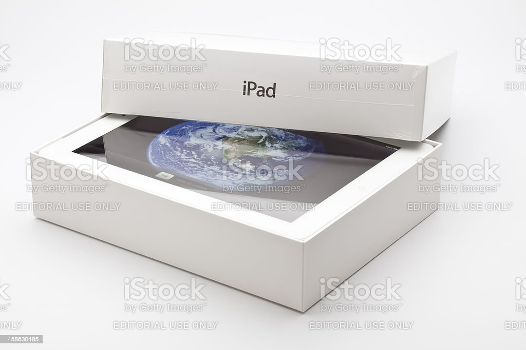 new ipad in original paking box. stock photo