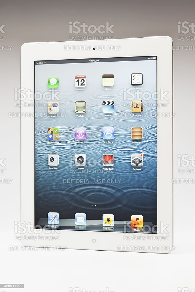 New ipad main screen stock photo