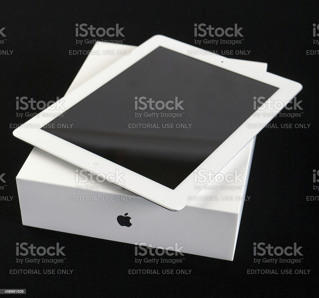 New iPad on its box with visible Apple logo stock photo