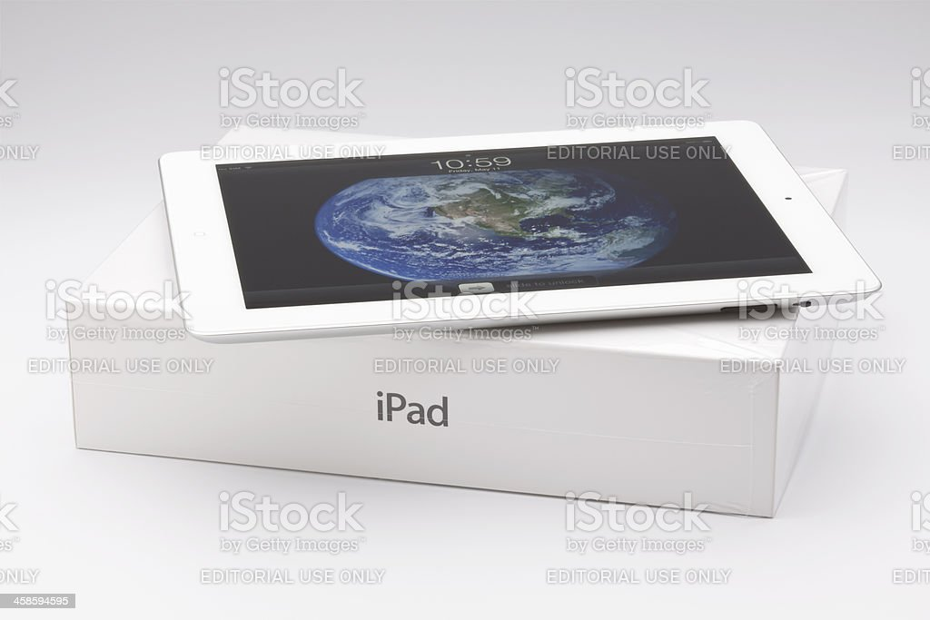 New ipad on the packing box stock photo