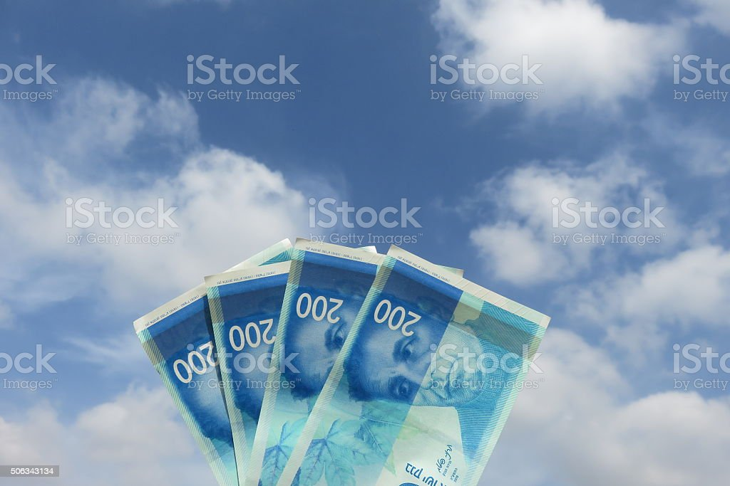 New Israeli banknotes- 2016 stock photo