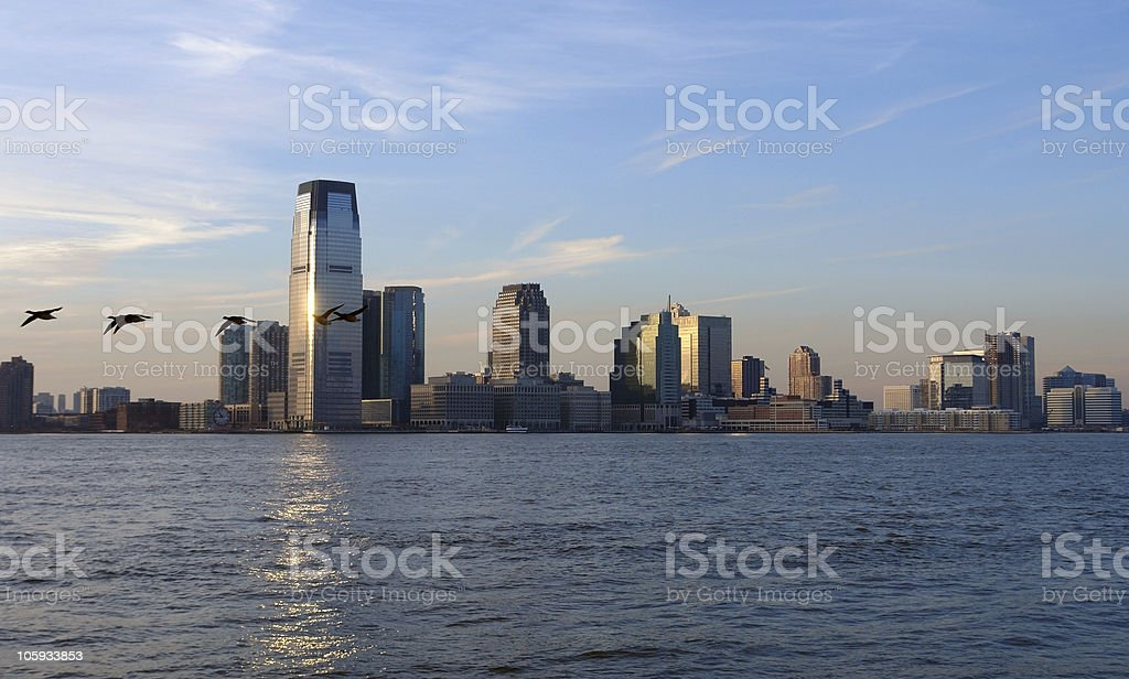 New Jersey skyline at evening time stock photo