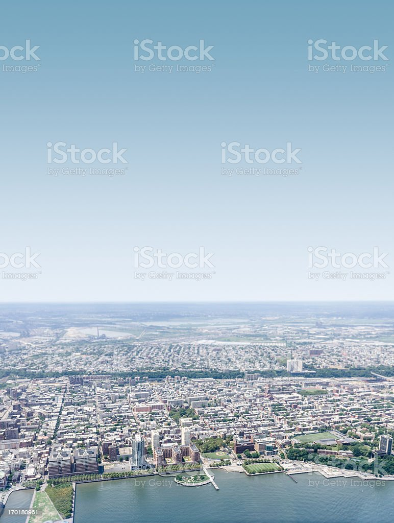 New jersey skyline from the helicopter royalty-free stock photo