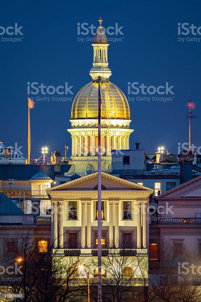 New Jersey State House at dawn stock photo