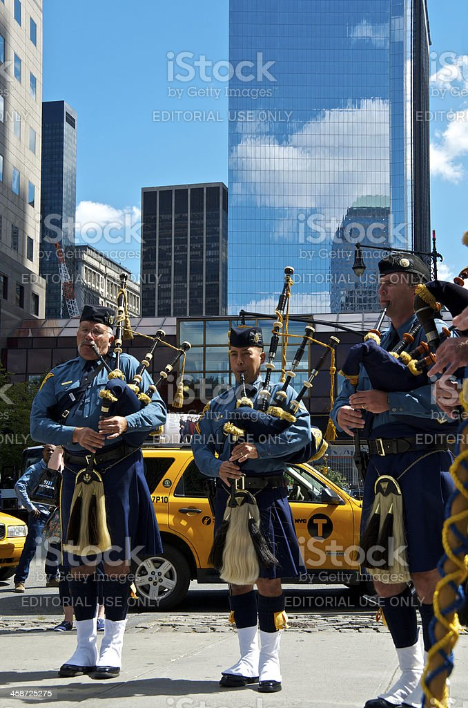New Jersey State Police Bagpipers, NYPD 9-11 Memorial ceremony, NYC royalty-free stock photo