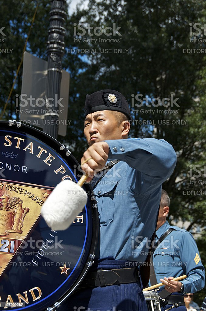 New Jersey State Police Drummer, NYPD 9-11 Memorial ceremony, NYC stock photo
