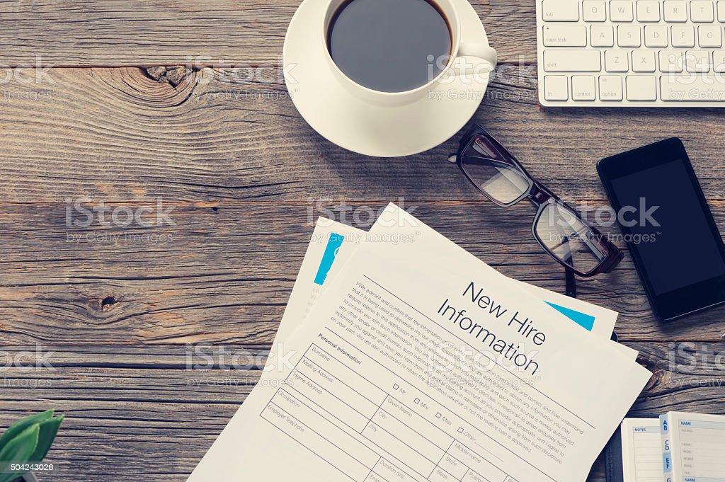 New job hire form. stock photo
