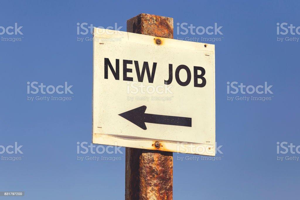New Job word and arrow signpost 2 stock photo
