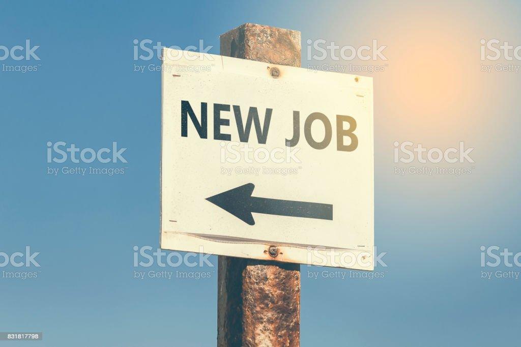 New Job word and arrow signpost 3 stock photo