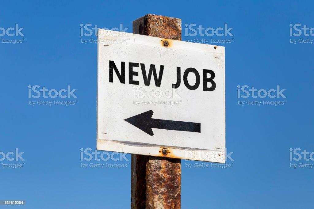 New Job word and arrow signpost stock photo
