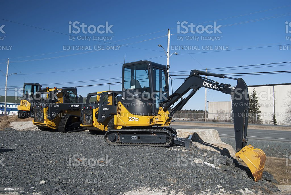 New John Deere Tractors For Sale in a Row royalty-free stock photo