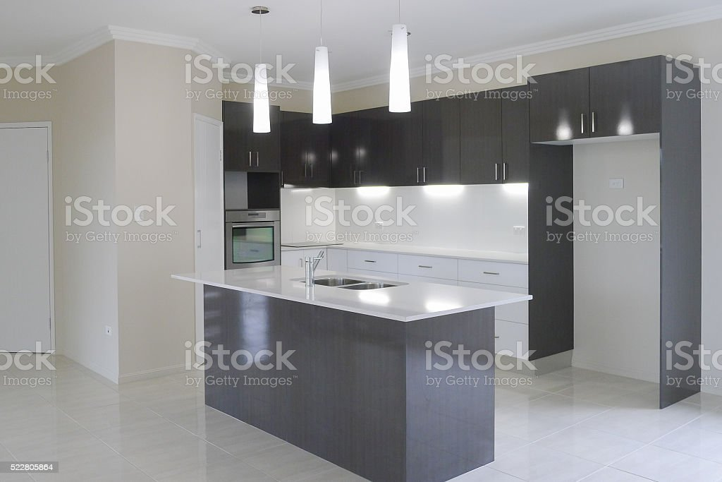 New kitchen in new house stock photo