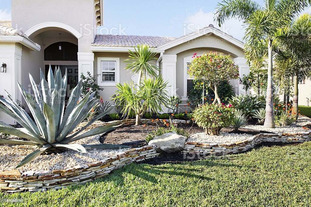 New landscaping in front of a home stock photo