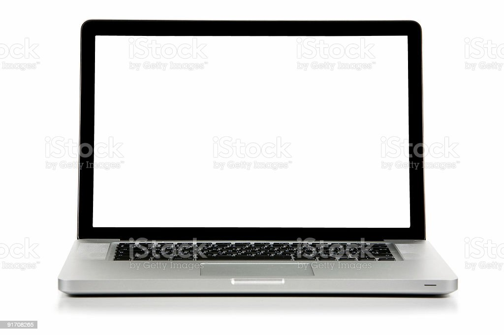 New laptop front view on a white background. stock photo