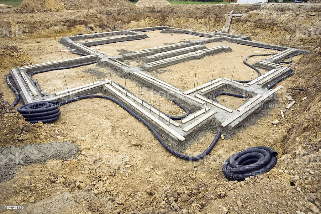 New Large Home Construction Foundation Footings royalty-free stock photo