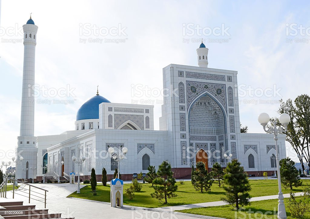 New large white mosque in the summer. stock photo