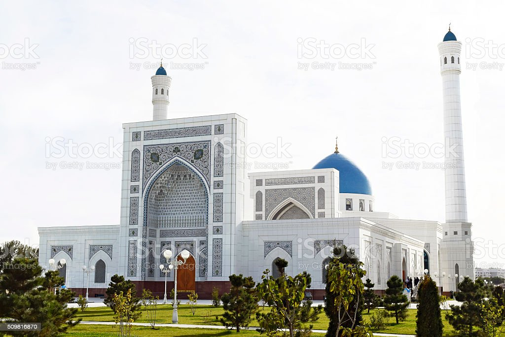 New large white mosque. stock photo