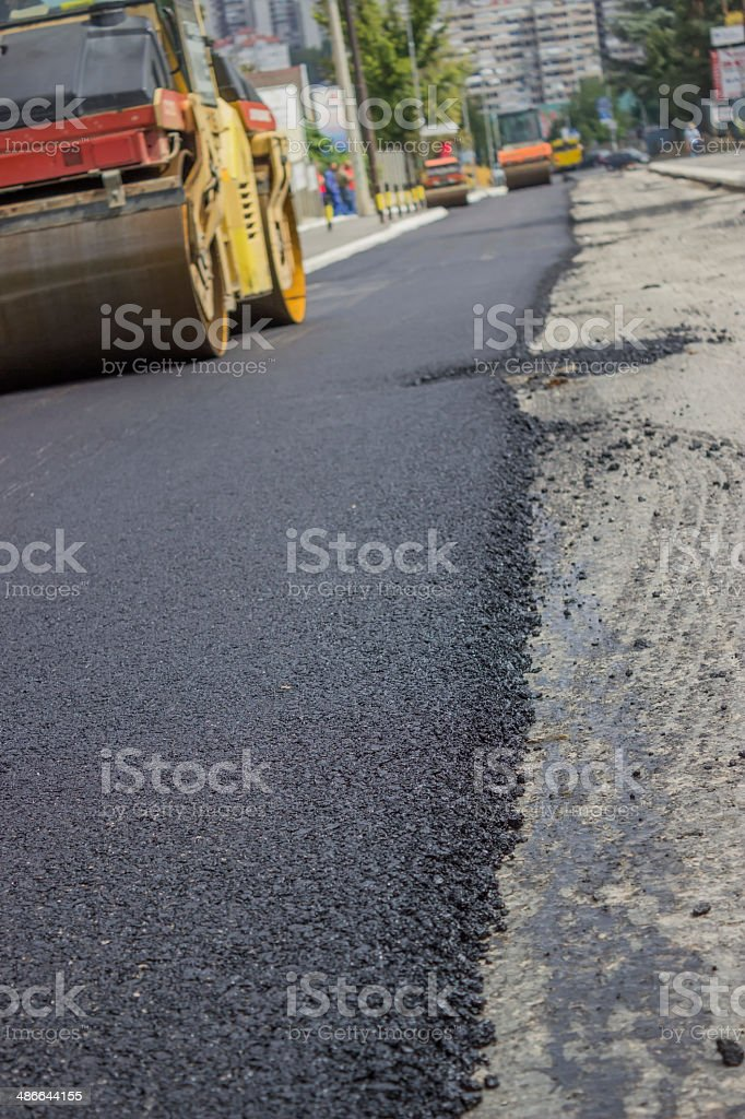 new layer of asphalt royalty-free stock photo