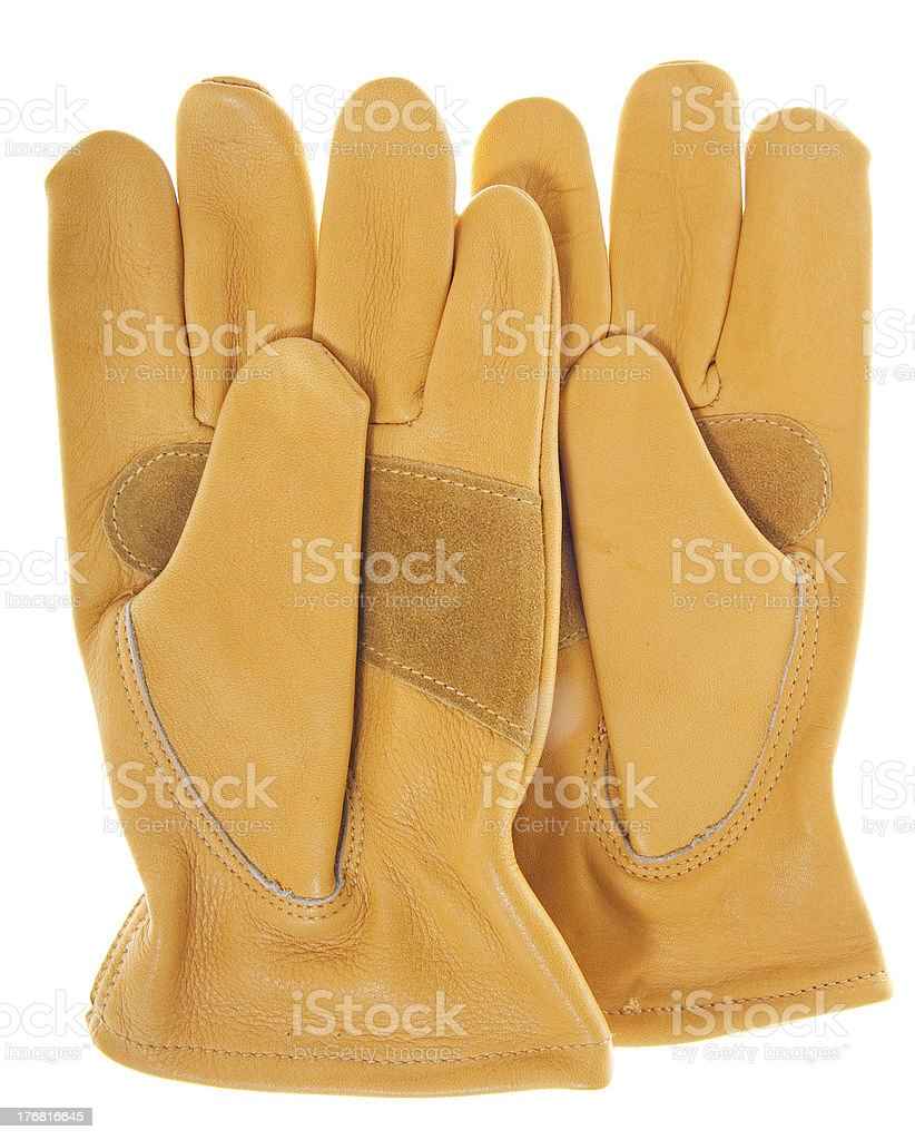New Leather Work Gloves, Isolated on White royalty-free stock photo