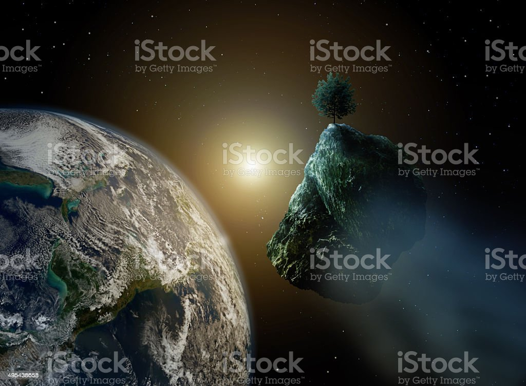 new life - asteroid with tree in space and earth stock photo