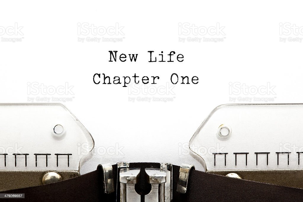New Life Chapter One Typewriter stock photo