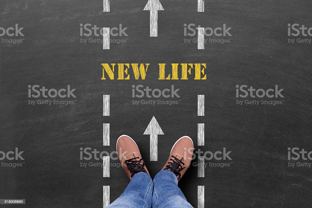 New Life text on road stock photo