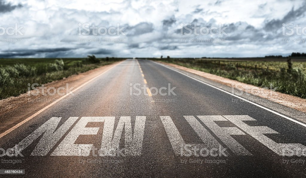 New Life written on rural road stock photo