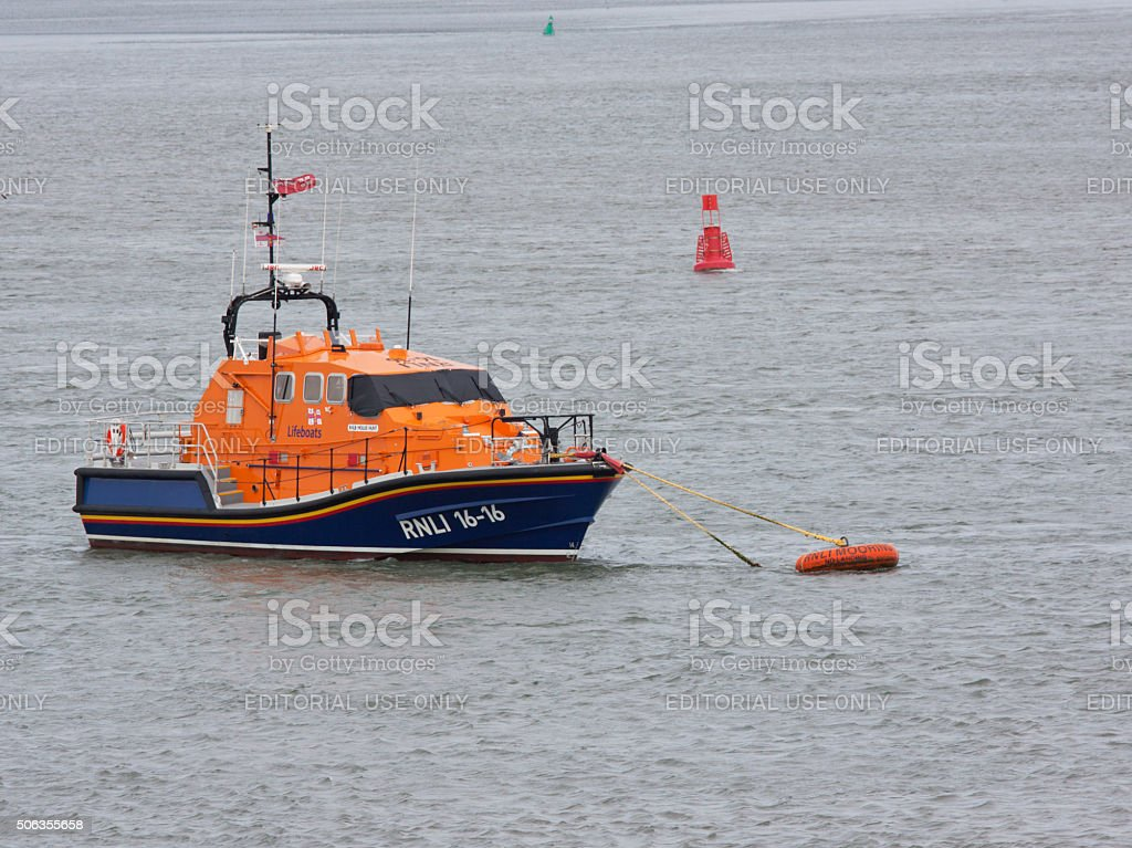 New lifeboat moored at its base location in Devon UK stock photo