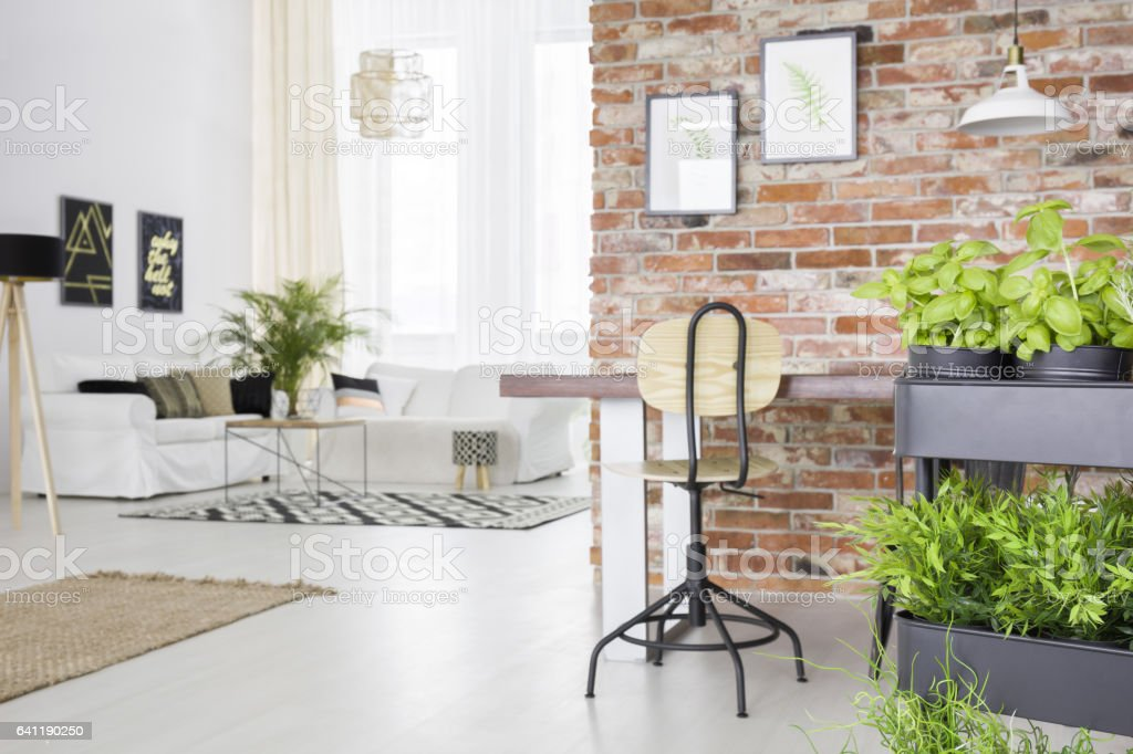 New loft with herbs cart stock photo