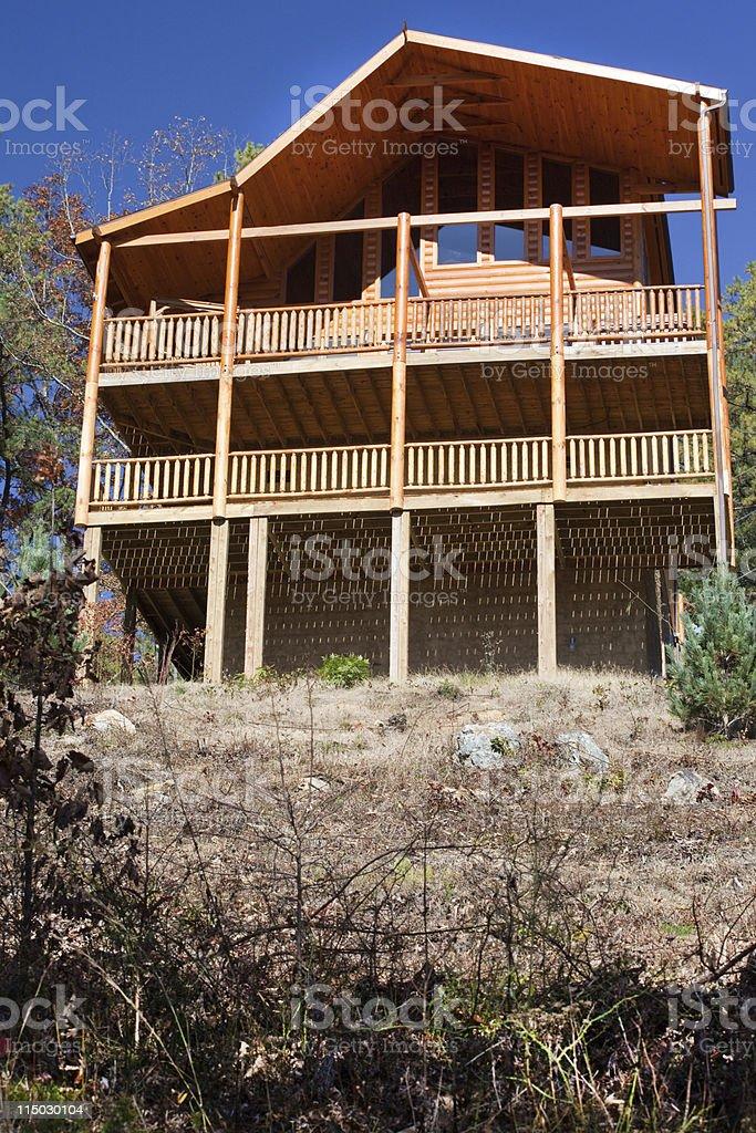 new log cabin stock photo