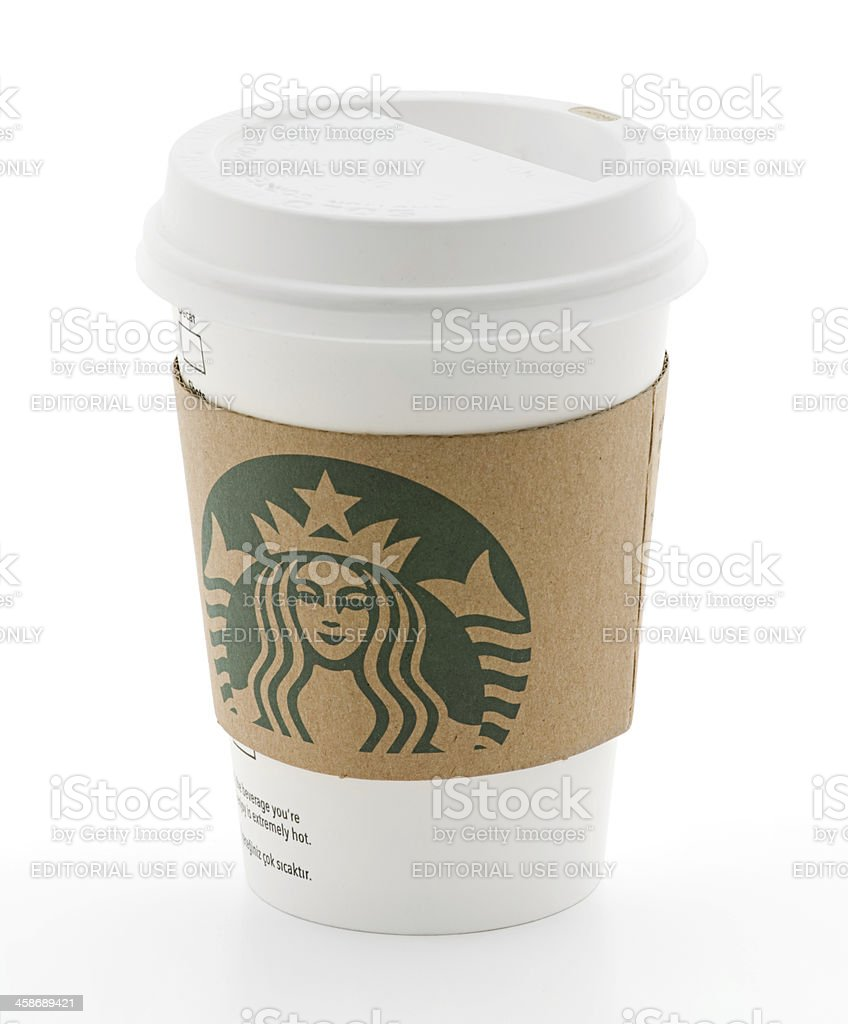 New Logo on Starbucks Cup with Sleeve stock photo