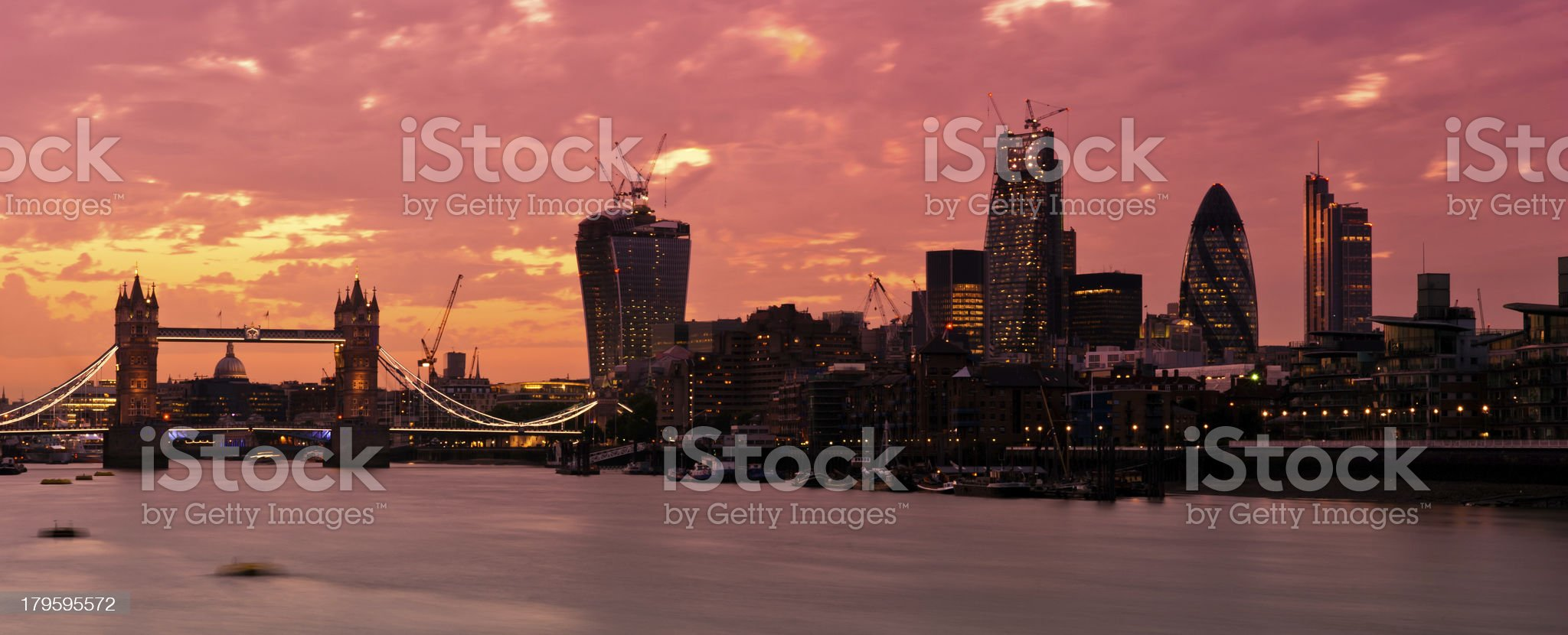 New London Skyline 2013 with deep red sunset royalty-free stock photo