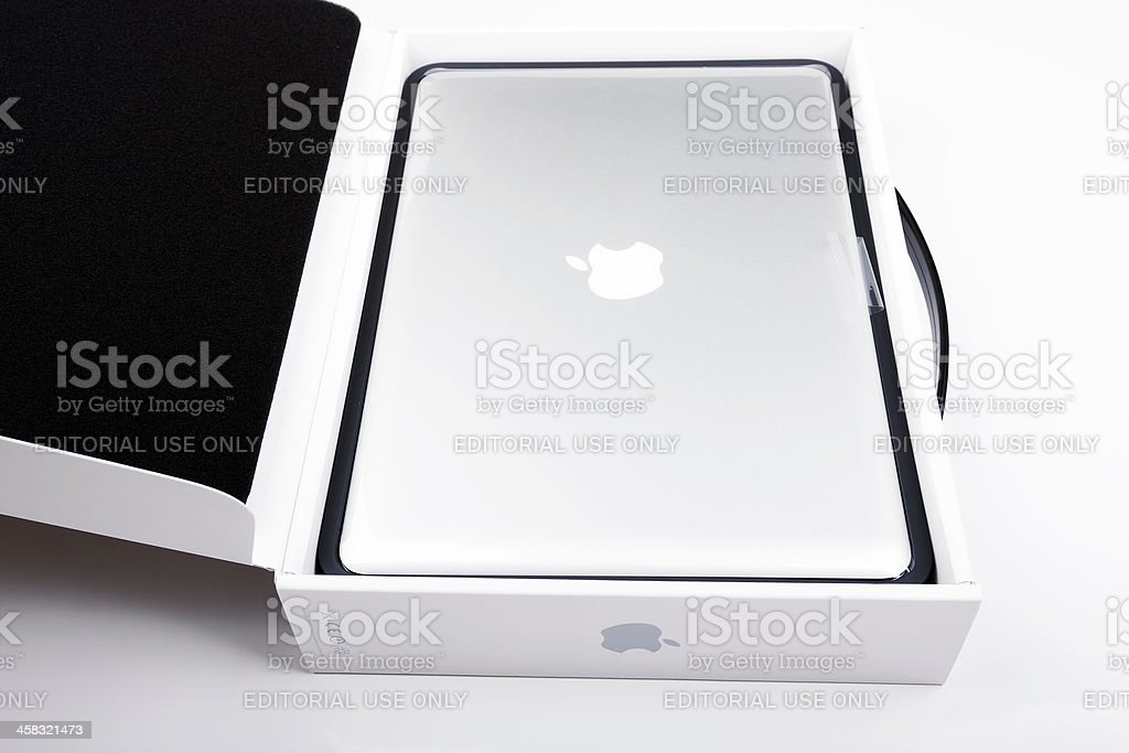 New macbook pro in original box royalty-free stock photo