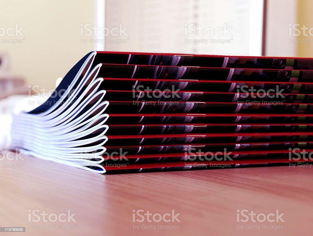 New magazines pile stock photo